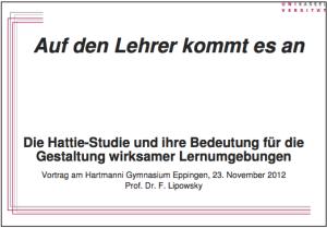 Lipowski-Vortrag-Hattie-Studie-Lehrer-Praesentation